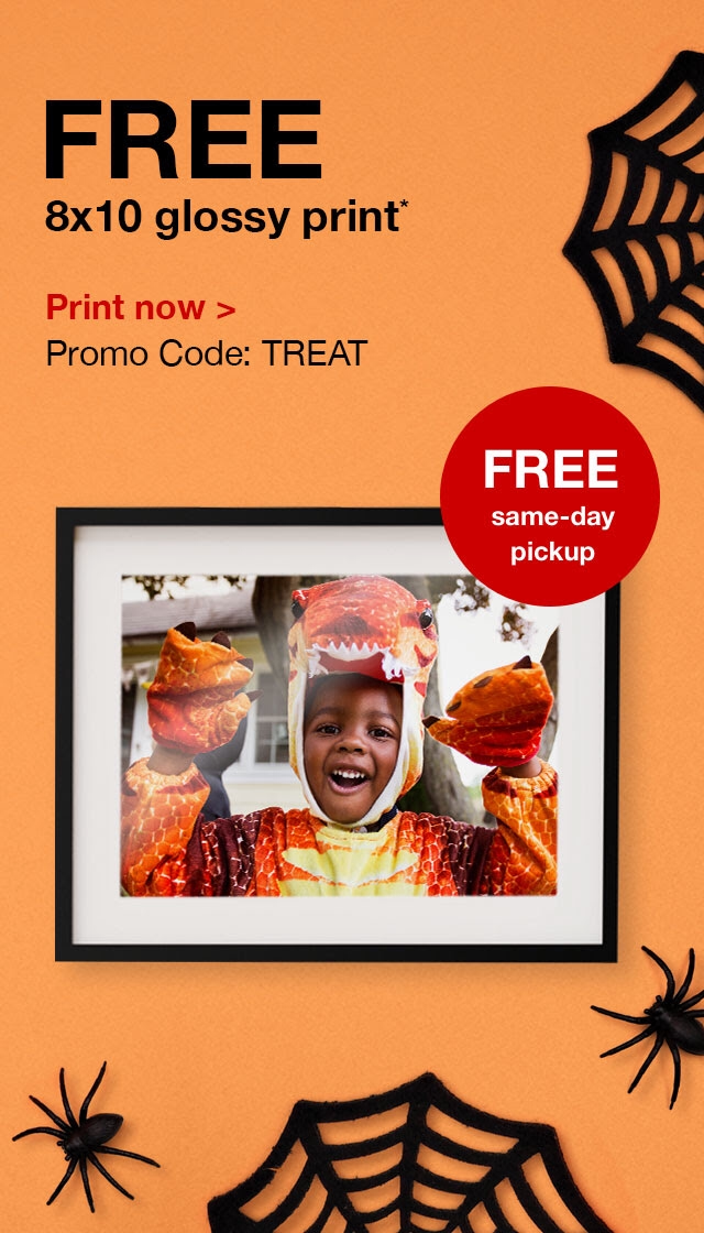 Get a free 8x10 glossy print from CVS to display your Halloween memories! This 2 day deal won't last, so order your free 8x10 glossy print today.