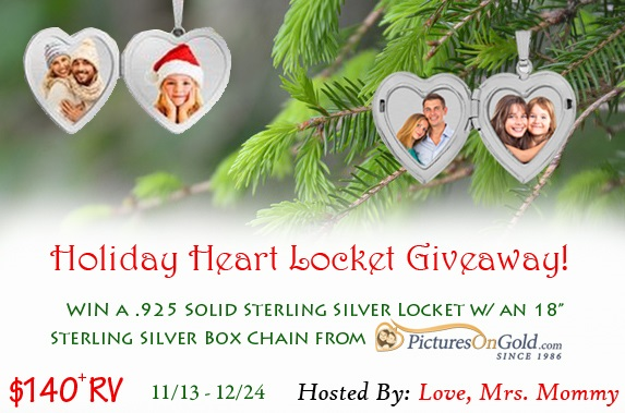 Show your loved one they are always on your mind with a beautiful heart locket! Enter for your chance to win the Holiday Heart Locket Giveaway.