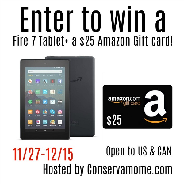 Enter to win the $25 Amazon Gift Card & Fire 7 Tablet giveaway and let your fingers do the shopping for you! What would you buy with a $25 Amazon Gift Card?