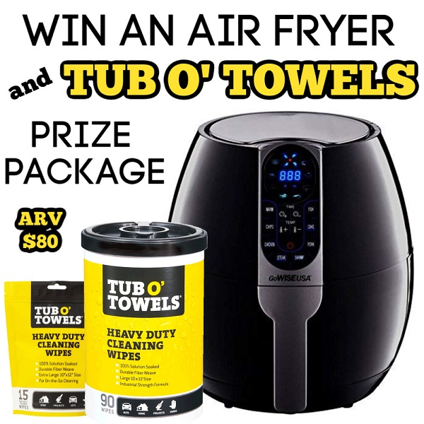 Get cooking and cleaning with the Air Fryer Giveaway and Tub O' Towels Prize Pack. Spring into Spring with a full belly and a clean home.
