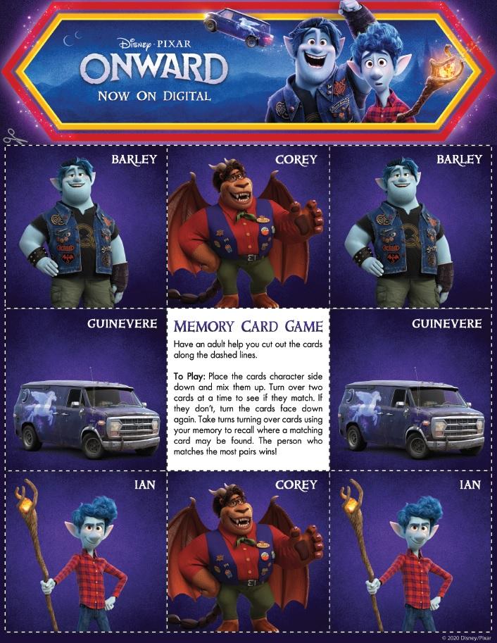Onward Memory Card Game Page 1 Onward Activity Sheets – Free Printables