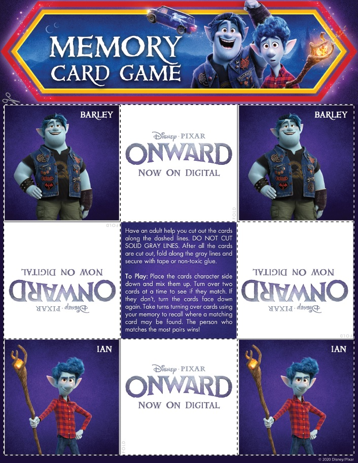 Onward Memory Card Game Page 2 Onward Activity Sheets – Free Printables