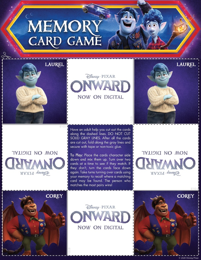 Onward Memory Card Game Page 3 Onward Activity Sheets – Free Printables