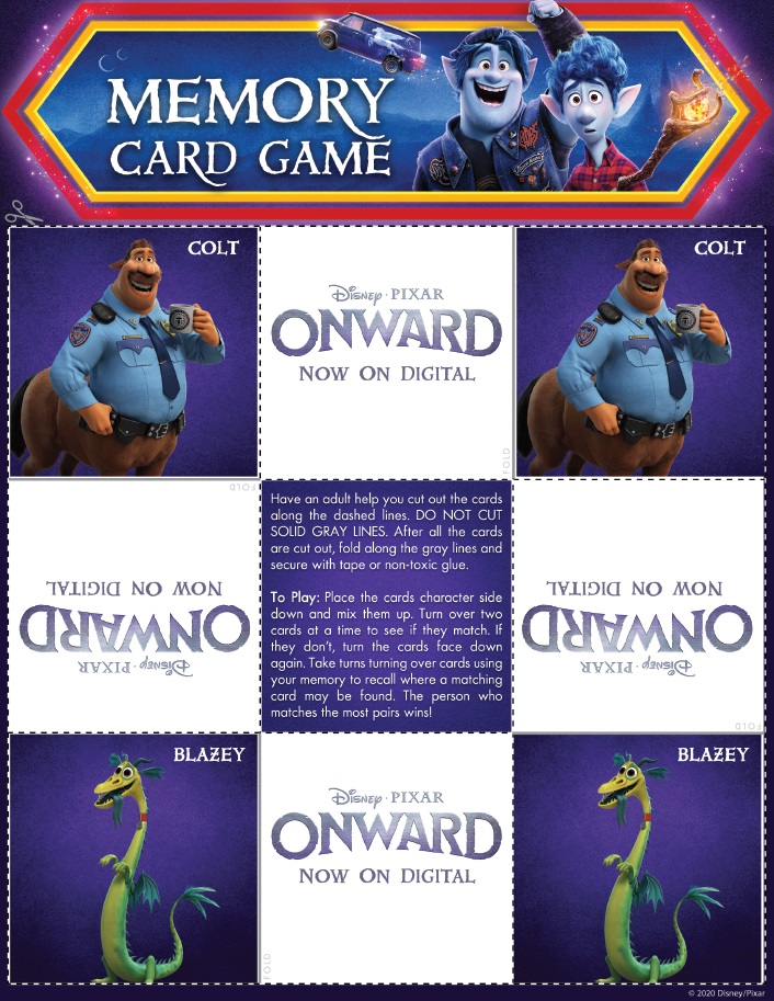 Onward Memory Card Game Page 4 Onward Activity Sheets – Free Printables