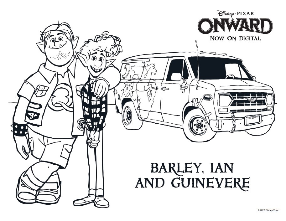 Barley, Ian and Guinevere Coloring Page Onward Coloring Pages & Activity Sheets – Free Printables